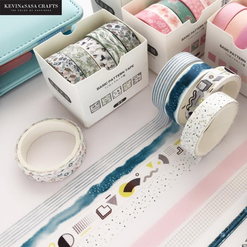 5pcs/set Printing Washi Tape Set Diy Masking Tape Cute Stickers School Suppliers Stationery Gift Presented By Kevin&Sasa Crafts 2