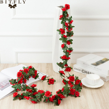 Silk Artificial Peony Vine Hanging Flowers For Wall Decoration Rattan Fake Plants Leaves Garland Romantic Wedding Home Decor