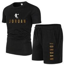 Moda jordan 23 masculina camiseta shorts definir verão 2pc treino + shorts conjuntos de praia dos homens camisas casuais conjunto sportwears S-4XL