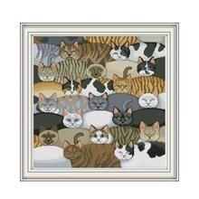 Набор для вышивания крестиком в виде кошек aida 14ct 11ct граф печатные холсты стежков вышивка своими руками рукоделие