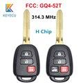 KEYECU FCC:GQ4-52T 314 3 МГц H чип замена 3/4 кнопки дистанционного ключа Fob TOY43 для Toyota Rav4 Highlander 2014 2015 2016 2017 18