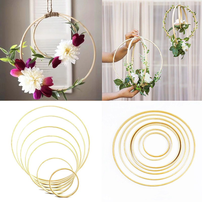 5pcs 9-30cm Catcher Ring Wood Bamboo Circle Embroidery Hoop DIY Art Craft Hanging Flower Wedding Party Wreath Decoration