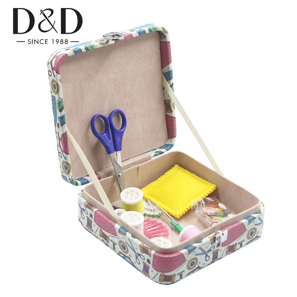 Portable Travel Sewing Box with Sewing Kits DIY Quilting Thread Stitching Needles Threader Tape Scissor Storage Organizer|box organizer|storage boxleather storage box - AliExpress