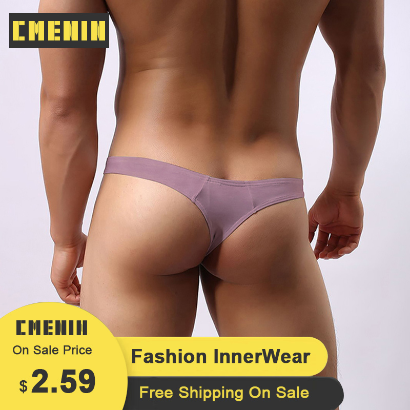 Pink Sexy Gay Underwear Men Thong Men Jockstrap Mens Cotton  Thongs And G Strings Sissy Panties String Men Lingerie Bikini AD313