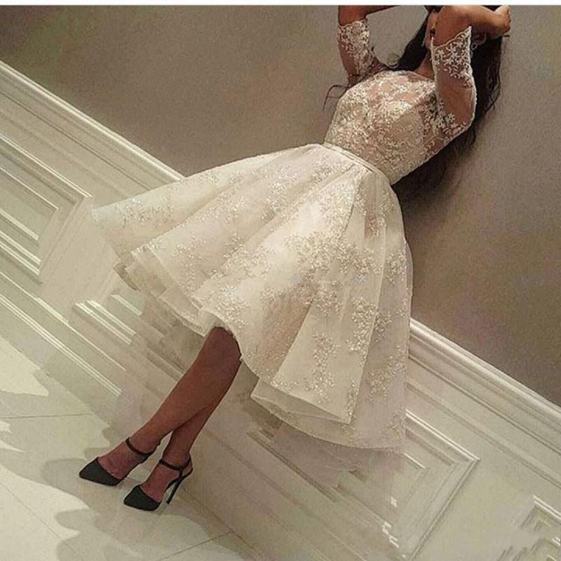 High Low   Cocktail     Dresses   Ball Gown Half Sleeves Appliques Lace Knee Length Elegant Homecoming   Dresses