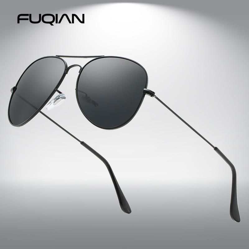 FUQIAN-lunettes de soleil polarisées Vintage pour hommes, pilote, monture en métal, couleurs miroir, pour la conduite, teintes UV400