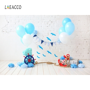 Image 2 - Laeacco ילדי יום הולדת Photophone לבן קיר בלוני דגלון הגה תמונה תפאורות תינוק דיוקן צילום רקעים