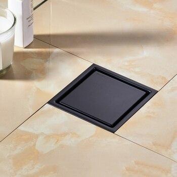 Moderno negro puro desagüe Invisible en suelo de ducha/baño balcón uso de acero inoxidable 304 rápido drenaje de insertar desagües cuadrados