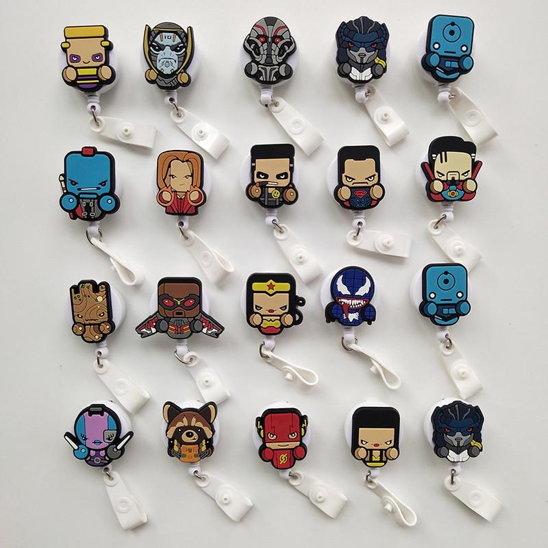 30Pcs/Lot Marvel Man Hero Clown Retractable Soldiers Cartoon Badge Card Holder Reel Nurse Exhibition Enfermera Name Card Chest