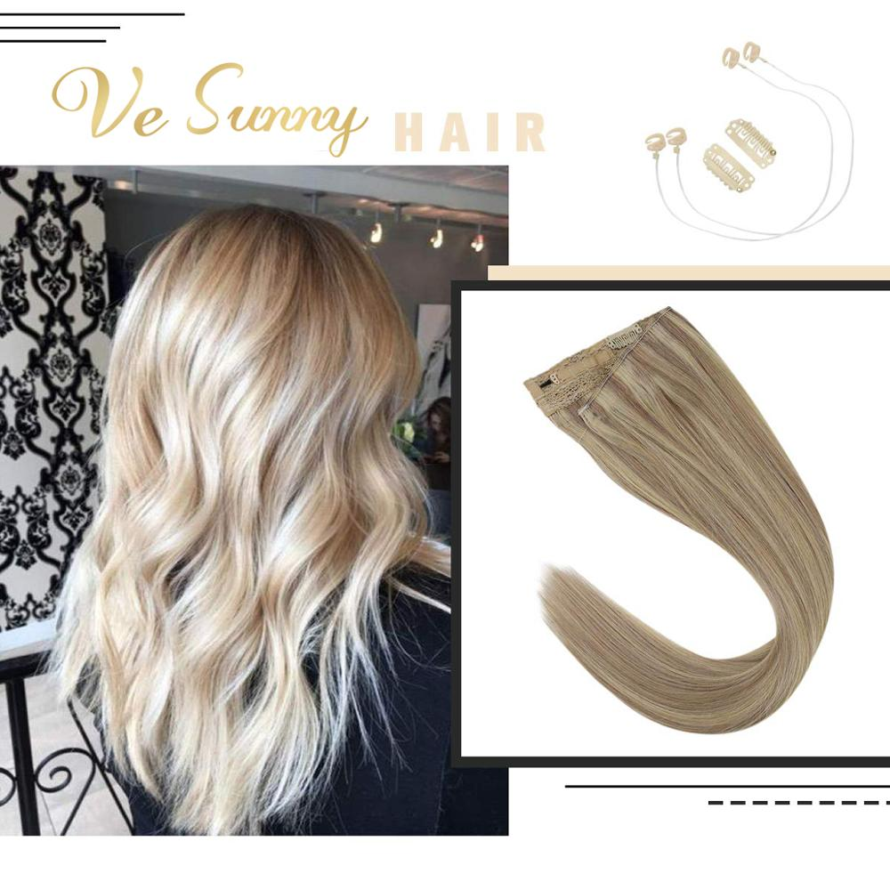 VeSunny Invisible Halo Hair Extensions 100% Real Human Hair Flip On Wire With 2 Clips Ash Brown Highlighted Light Blonde #18/613