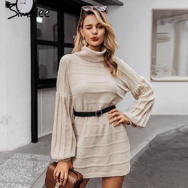 Simplee Turtleneck knitted women sweater dress Autumn winter casual lantern sleeve female dress Elegant soft ladies party dress