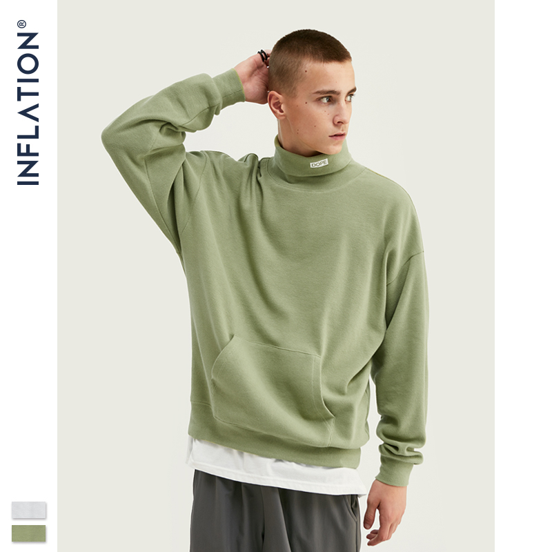 INFLATION 2019 New Loose-Fit Waffle Material Sweatshirt Cowl-neck Pullover For Men Autumn Thin Men Sweatshirt Pure Color 9622W