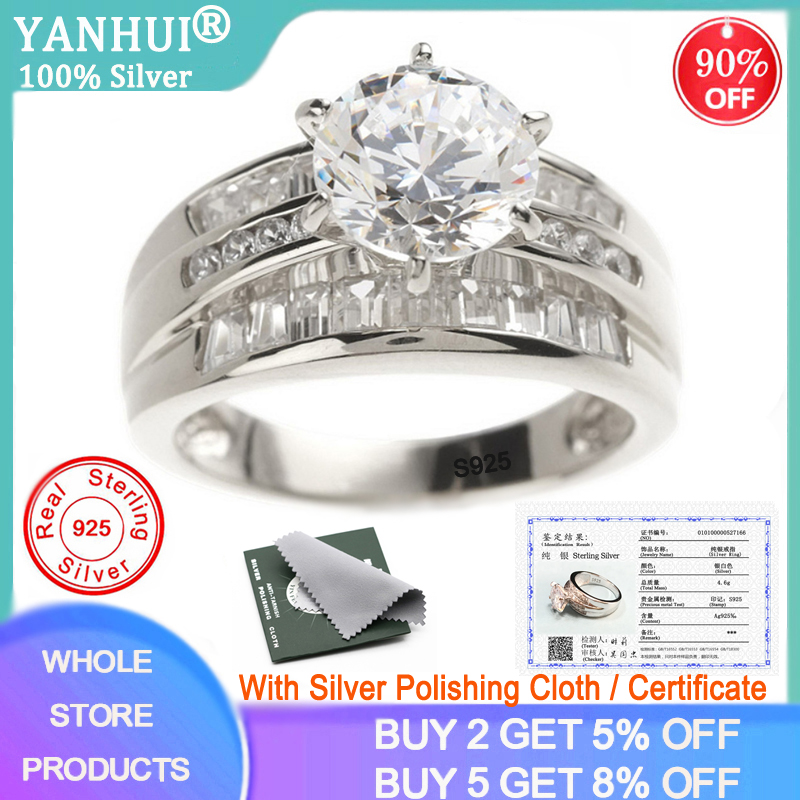 With Certificate Luxury Brand Original 925 Silver Rings European And American Style 2.0ct CZ Zircon Fashion Rings For Women R166