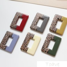 Autumn and winter rectangular leopard print straight hole DIY Earrings material accessories