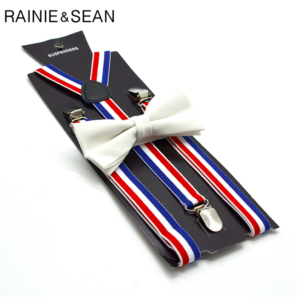 RAINIE SEAN Striped Womens Suspenders Bow Tie Set Female Suspenders For Shirt Red Blue White Striped British Style Braces 100cm