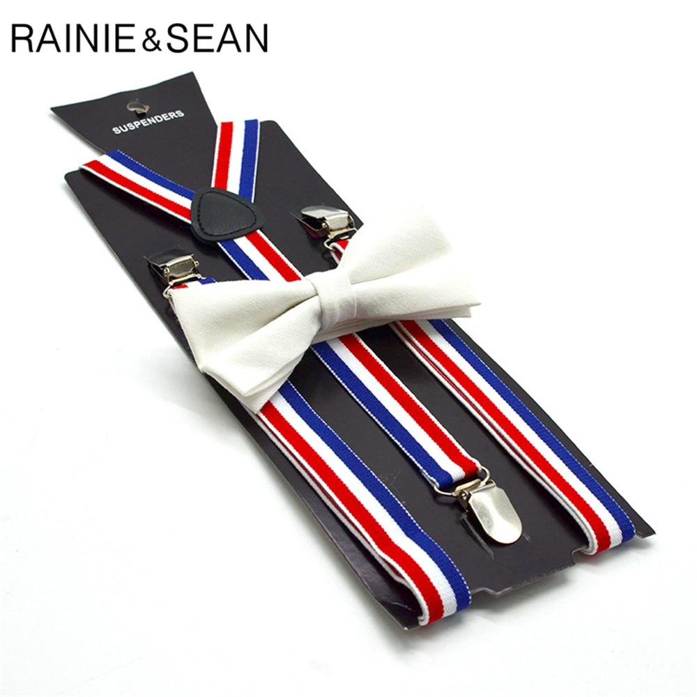 RAINIE SEAN Striped Womens Suspenders Bow Tie Set Female Suspenders For Shirt Red Blue White Striped British Style Braces 100cm