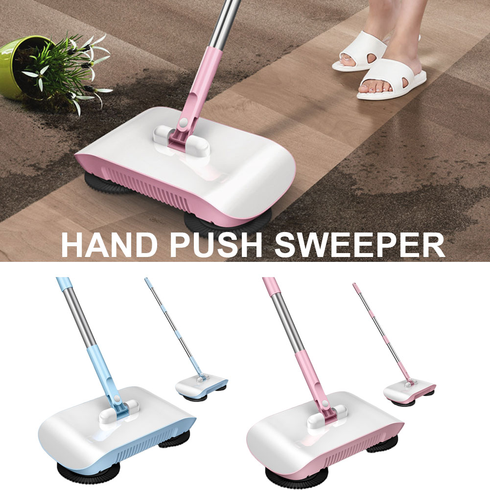 Hand Push Sweepers Non-Electric Easy Manual Sweeping 360 Degree Rotating Cleaning Machine Sweeping Tool