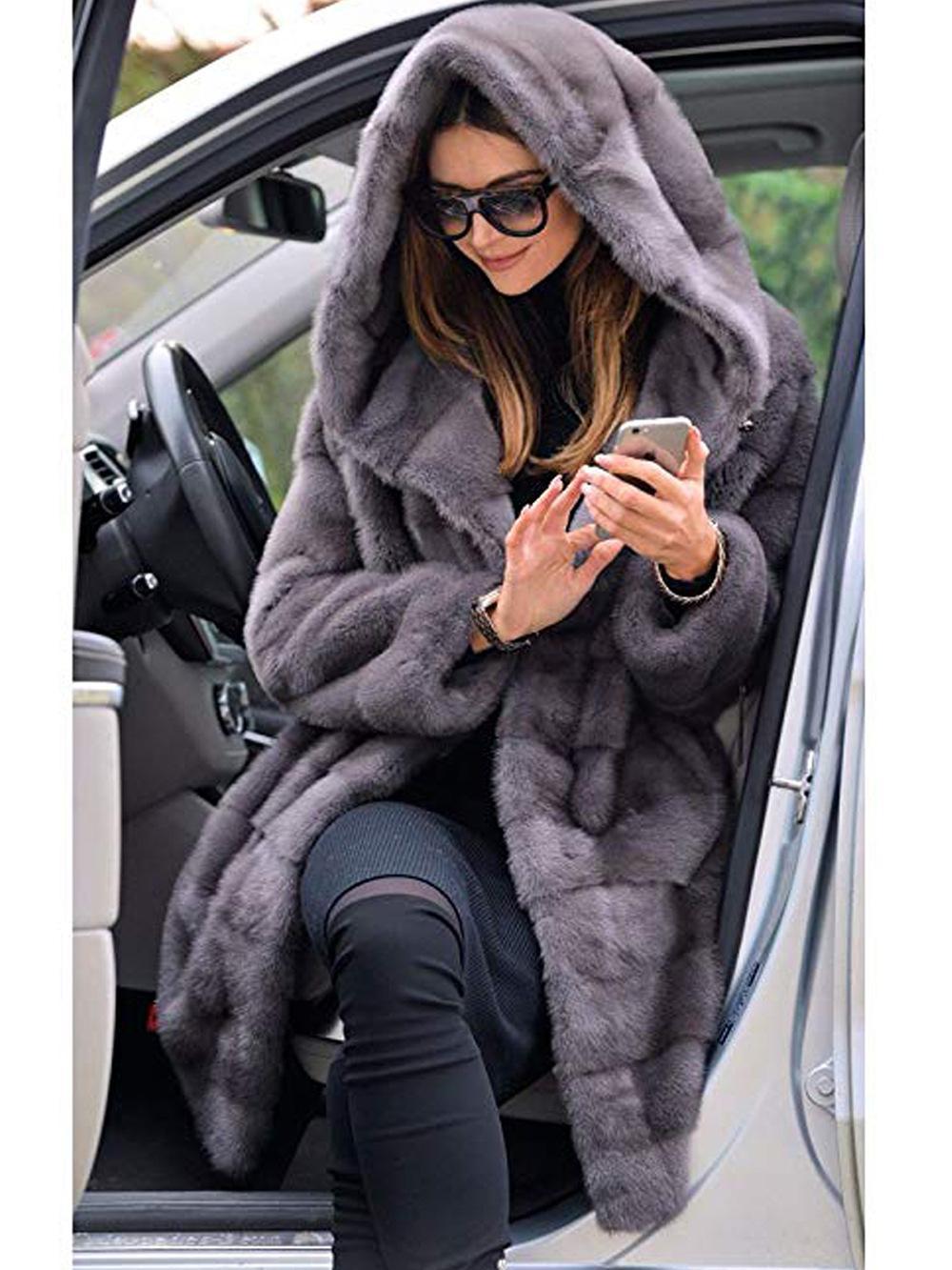 New Woman Fur 90cm Plus Size Women Clothing Winter Artificial Economy Mink Fur Coat With A Hood Luxury Fake Fur Coats