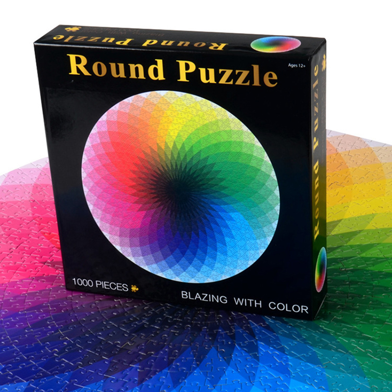 Colorful Rainbow Round Jigsaw Puzzle Paper 1000 Pcs/set Geometrical Photo Puzzle Adult Kids DIY Educational Reduce Stress Toy