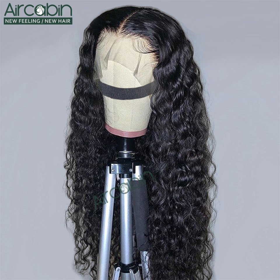 Aircabin 30 Inch Water Wave 13x6 Lace Front Wigs Brazilian Human Hair Wigs For Black Women Glueless Lace Closure Wigs Non-Remy(China)