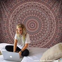 Nouveau tapis de plage Mandala indien, tapisserie Hippie, décoration murale suspendue, bohème, tapis de Yoga, couvre-lit, nappe, 210x148cm