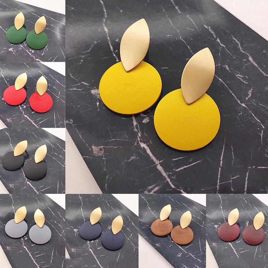 2020 Women Fashion Earrings Irregular Gold Wavy Earrings Round Wooden Earrings Earrings For Women Jewelry Statement Earrings
