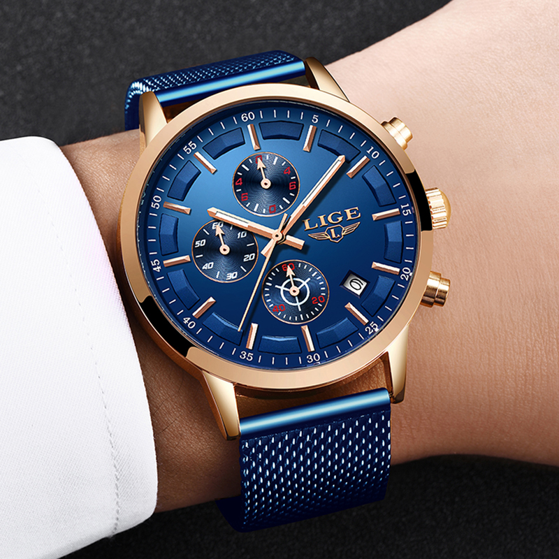 LIGE Fashion Sport Wrist Watch Mens Ultra-Thin Mesh Steel Blue Date Chronograph Male Luxury Brand Waterproof Mens Watches 2019