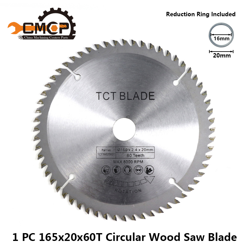 1pc 165x20x60T Circular Saw Blade TCT Cutting Disc Carbide Saw Blades For Wood Multi-function Power Tools