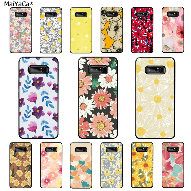 MaiYaCa watercolor art painting flower daisy Phone Case for Samsung Note 3 4 5 7 8 9 10 pro A7 2018 A10 A40 A50 A70 J7 2018 image