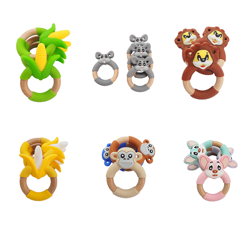 Chenkai 1PCS Silicone Corn Banana Squirrel Monkey Mouse Lion Teethers For DIY Baby Nursing Pacifier Clip Necklace Jewelry