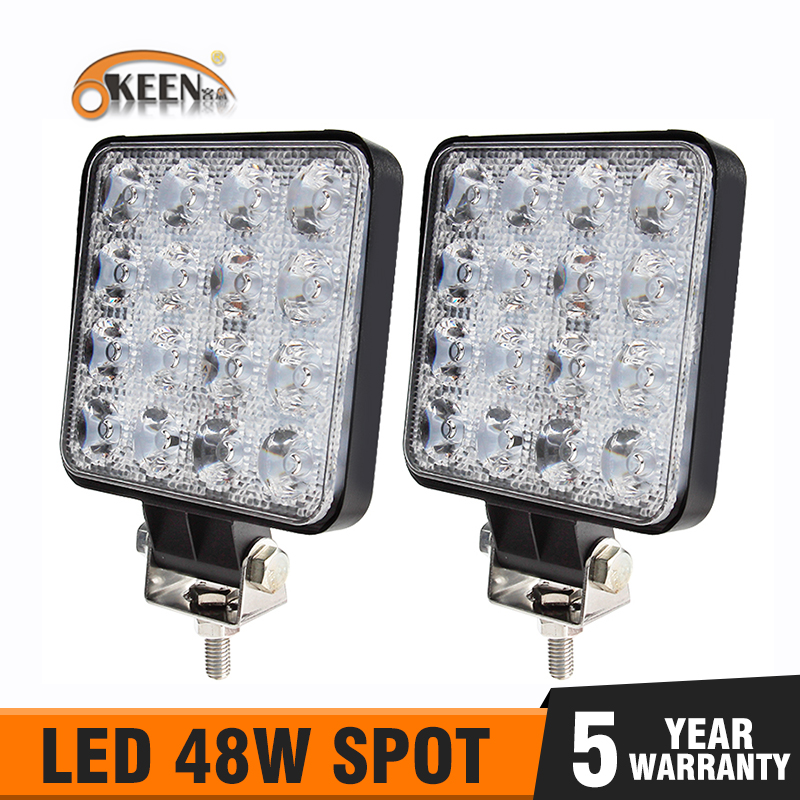 OKEEN 4inch 27W 48W LED Light Bar Work Light 4WD Truck Tractor Boat Trailer 4x4 SUV ATV 12V 24V Flood/Spot Off Road Headlight