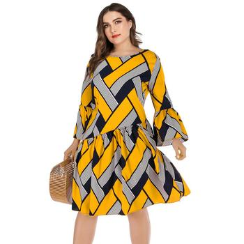 5XL Plus Size Casual Dress Women Long Sleeve Plaid Striped Print Patchwork Midi Dress Red Ladies Tunic Ruffles Beach Dresses 2