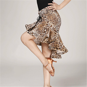Image 2 - נמר תבואה לטיני Fishtail חצאית למבוגרים נקבה לטיני עיסוק ביצועי תלבושות ריקוד חצי אורך חצאית נשים ריקוד