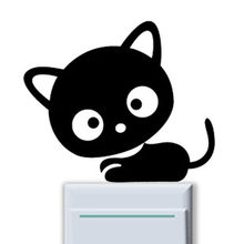 Zwarte Kat Schakelaar Sticker Kinderen Kamer Raam Muur Decoreren Cartoon Schakelaar Sticker Vinyl Decal Decor(China)