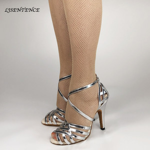 Woman Silver Dance Shoes Heels Lace Buckle Women Salsa Chacha Bachata Ballroom Wedding Dancing Sandals Ladies Girls Sparkle(China)