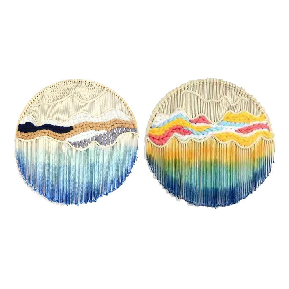 Tenture murale ronde dentelle tapisserie cerceau fait à la main décor à la maison salon bohème décoration murale teints avec lumière dégradé tapisserie