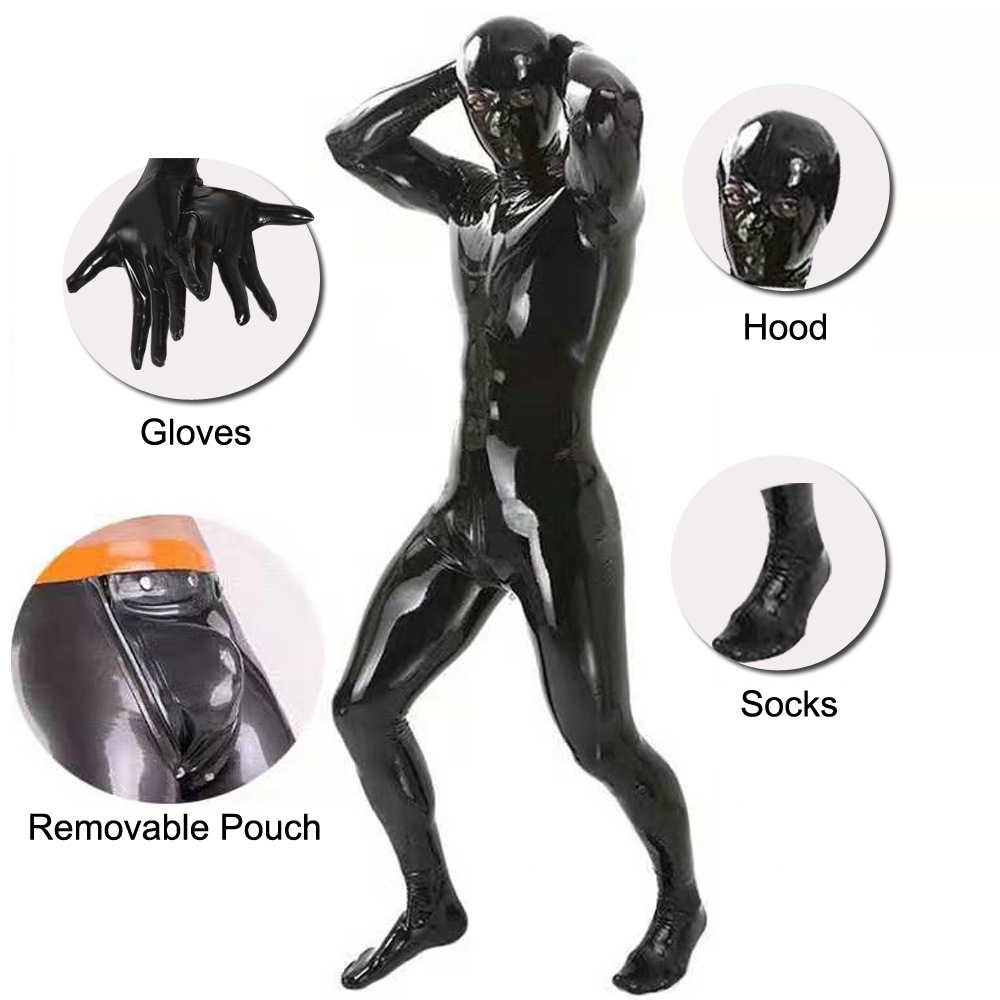 LinvMe Men Wetlook Latex Hooded One Piece Bodysuit Zentai Shinny Faux Leather Pu Tights Catsuit Fetish Cosplay Costume Club Wear