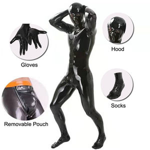 LinvMe Men Wetlook Latex Hooded One Piece Bodysuit Zentai Shinny Faux Leather Pu Tights Catsuit Fetish Cosplay Costume Club Wear(China)