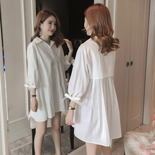 9297# Spring Summer White Cotton Maternity Blouse Large Size Loose Shirt Clothes for Pregnant Women Sweet Casual Pregnancy Tops