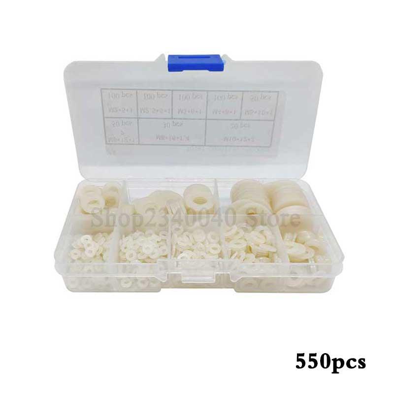 550pcs Nylon Flat Washer Set m2 m2.5 m3 m4 m5 m6 m8 m10  Gasket Set Plain White Washer Flat Pad Assortment Kit Ring