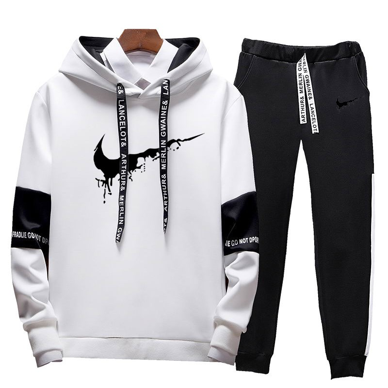 High Quality Men Clothing Set Sportswear 2019 Autumn Hoodies Sweatshirts Sporting Sets Men's Tracksuits Mens Hoodies+Pants 2pcs
