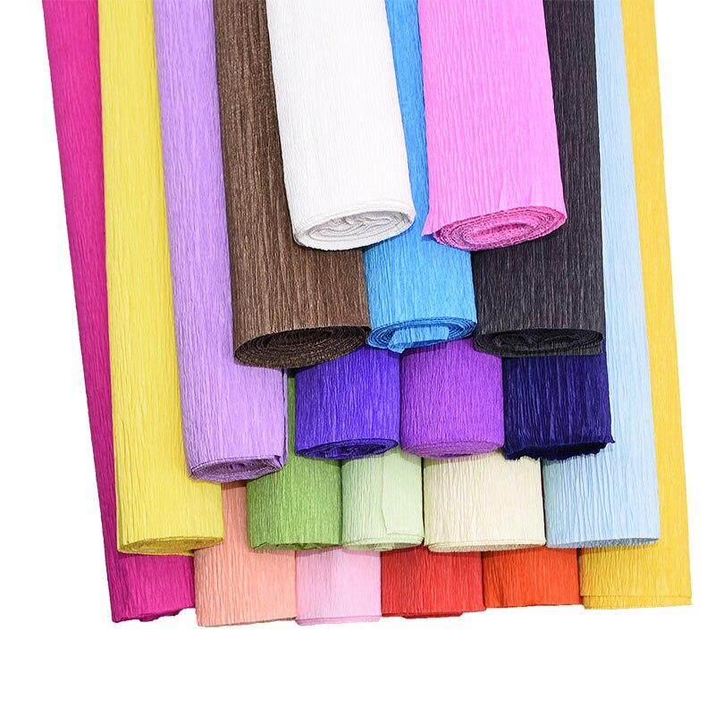 1 шт., 250x50 см, ручная работа, для упаковки цветов, креповая бумага, крашенная, рулонная бумага, украшение для вечеринки, скрапбук, цветочный ри...