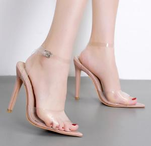 Image 2 - 2020 חדש נעלי נשים שקוף מילת Pvc באיכות גבוהה פגיון סנדלי עירום צבע גבוהה עקבים Bly1635 36 יוקרה מותג