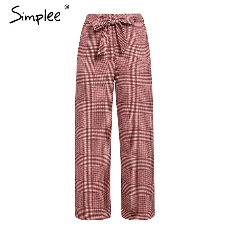 Simplee Streetwear Sash Bow Tie Women Plaid Pants High Waist Pockets Female Wide Leg Trousers Loose Office Ladies Pants Bottoms
