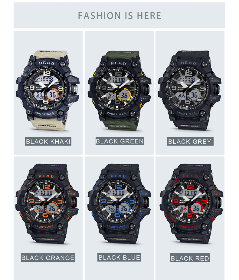 H727d2387b39a48e5947ca7e3210b7905J - READ Sport Watches for Men Waterproof Digital Watch LED Large Dail Luminous Clock Montre Homme Military Big Men Watches