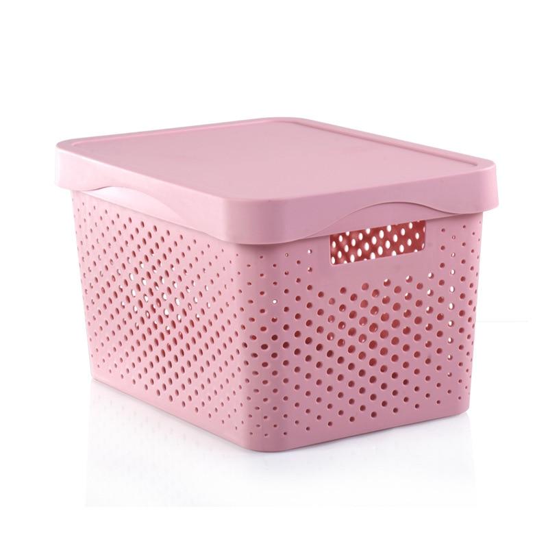 Storage Basket Rectangle Storage Box With Lid Hollow Kitchen Organizer Home Storage Tools