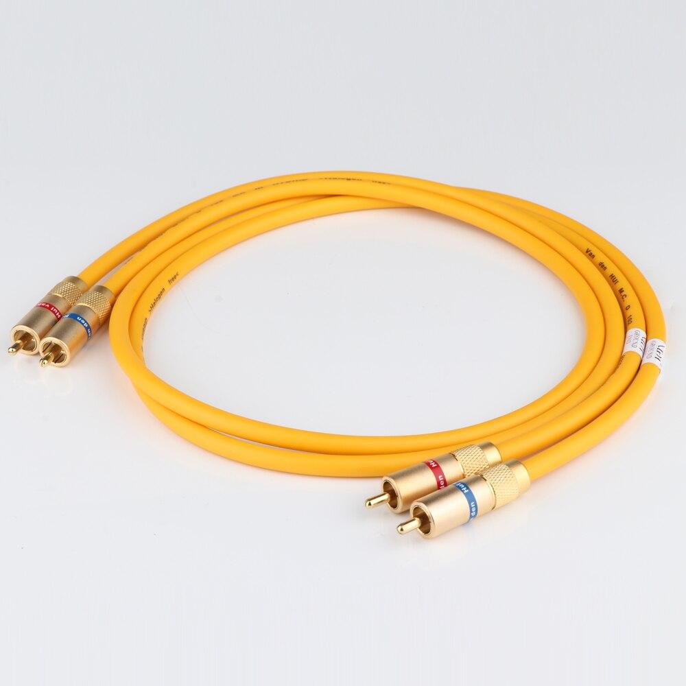 Paire Van Den Hul le D-102 III hybride (halogène F) câble Audio hifi avec prise RCA plaquée or câble d'extension RCA vers RCA