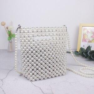 Image 1 - Брендовые Дизайнерские Сумочки Ручной работы, сумка из бисера и жемчуга в стиле ретро, плетеная Женская диагональная женская сумка, Новая вечерняя сумка, клатч