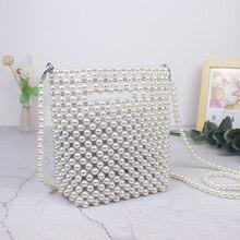 Markowe torebki markowe wykonane ręcznie wyszywane koralikami Retro torba z perłami tkane Mini kobiece przekątna torba na telefon komórkowy nowa torba wieczorowa kopertówka