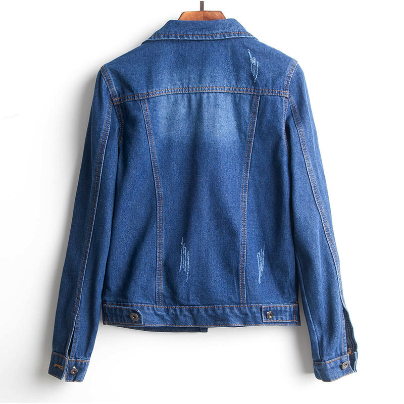 H727d72edbde74f9e92b8267fc6593b16r Plus Size Ripped Hole Cropped Jean Jacket 4Xl 5Xl Light Blue Bomber Short Denim Jackets Jaqueta Long Sleeve Casual Jeans Coat